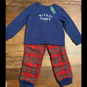 LL Bean Navy Blue Red Plaid Polyester Pajamas 4T